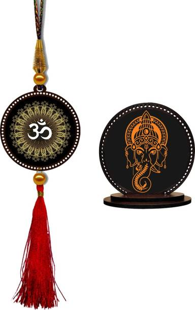 GiftzLane Om Car Hanging Premium & Ganesha Car Dashboard Idol Showpiece Combo Car Hanging Ornament