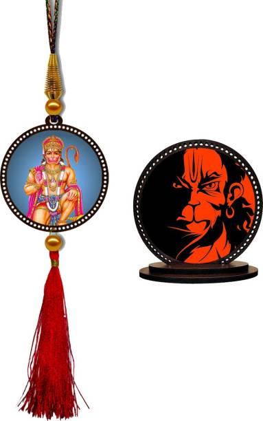 GiftzLane Lord Hanuman Car Hanging Premium & Bajrang Bali Car Dashboard Idol Showpiece Combo Car Hanging Ornament