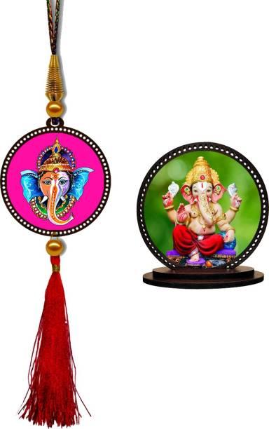 GiftzLane Lord Ganesha Car Hanging Premium & Ganpati Car Dashboard Idol Showpiece Combo Car Hanging Ornament
