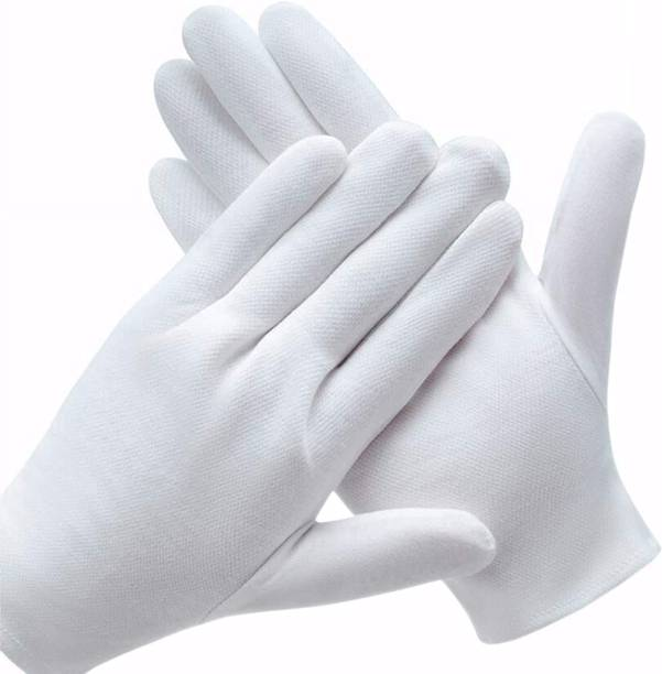 RBGIIT cotton hosiery hand gloves for virus protection, Flore cleaner, handwork, work, sun protection, safety, office, work, driving for men, women, Perfect for Summer, household 100% washable reusable hand gloves set of 10 (5 Pair), Large (White) (Single layer) Dry Glove Set Kevlar  Safety Gloves