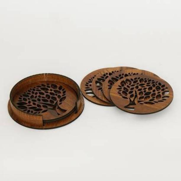 GENUINO Round Wood Coaster Set