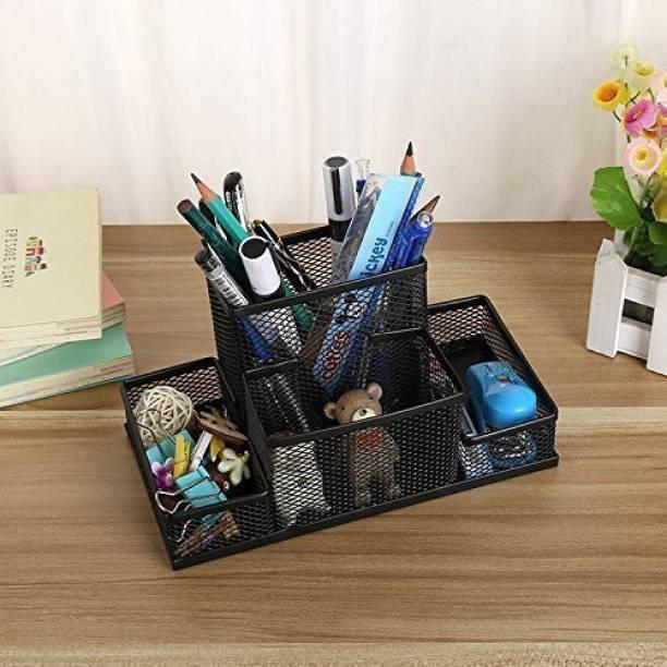 OnisHomes 4 Compartments Mesh Metal Desk Organizer Pen Pencil Stand