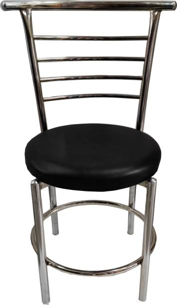 RW REST WELL RW-158 Comfortable Multi Purpose with a Leather Cushion Steel Chair (Black) (2021 Model) Metal Dining Chair