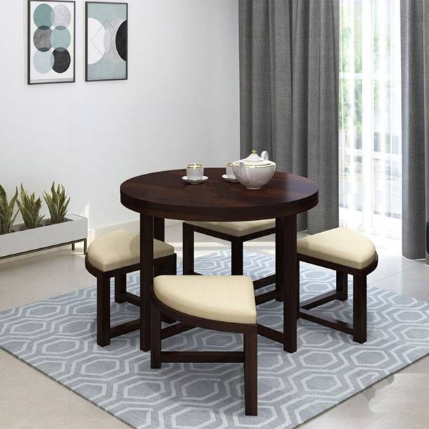 Mooncraft Furniture Wooden Dining Table with 4 Chairs Solid Wood 4 Seater Dining Set