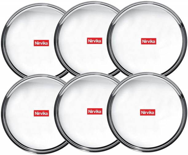 Nirvika Pack of 6 Stainless Steel Stainless Steel Vriksha dinner set Heavy Gauge Dinner Plates with Mirror Finish - Set of 6pc Dinner Plate (6 Dinner Plate) Bhojan Thali / Lunch Plates/ bhojanthal/khumcha/steel thali Dinner Set