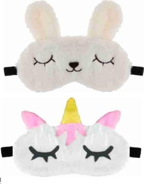 PRASJAL Cute cat & Unicorn Blind Sleeping Eye Mask Slip Night Sleep Eye White Color Super Soft & Smooth Travel Masks for Men Women Girls Boys Kids(White Cat & Unicorn) pack of 2(2)