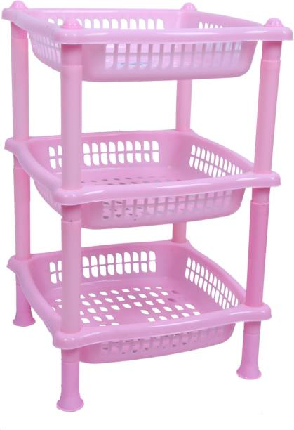 ARISERS Square Pink Storage Kitchen Rack Plastic Fruit & Vegetable Basket