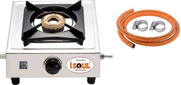 ISOUL Solid Single Gas Stove With ISI Gas Pipe Stainless Steel Manual Stove