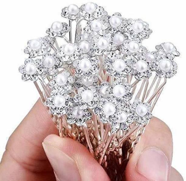 Jainy Creations Hair Bun Pin Fancy Juda Pins with Crystal Rhinestone for Women and Girls 1 box Set of 12 Bun Clip