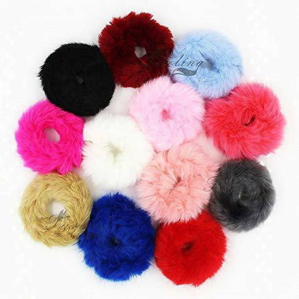 Fancyy shinning queen Shining Queen 12 Pieces Fur Hair Scrunchies Rabbit Furry Hair Ties Pom Elastic Hair Bobbles Fluffy Ponytail Holder Pompom Ball Scrunchie Hair Band for Women Girls Hair Accessories Rubber Band (Multicolor) Rubber Band