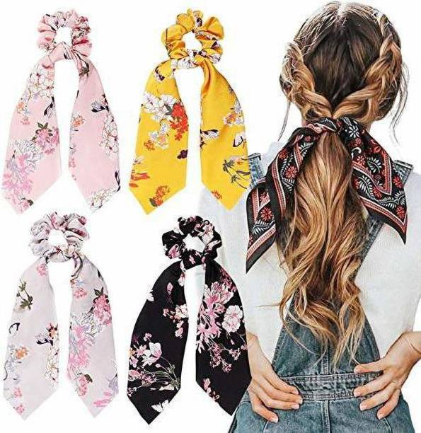 Fancyy Stylist Hair Rubber Bands Scrunchy Elastic Satin fabric for Women And Girls Pack of-4 (Random Assorted Color And Print) Rubber Band