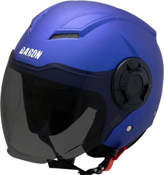 Steelbird Open Face Helmet, ISI Certified Helmet in Matt Y.Blue with Smoke Visor Motorbike Helmet