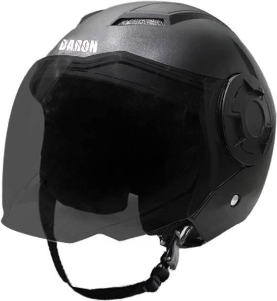 Steelbird Open Face Helmet, ISI Certified Helmet in Dashing Black Motorbike Helmet