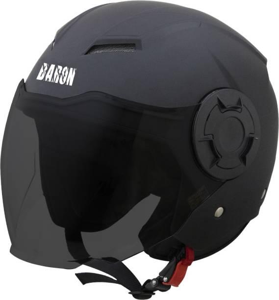Steelbird Open Face Helmet, ISI Certified Helmet in Matt Black with Smoke Visor Motorbike Helmet