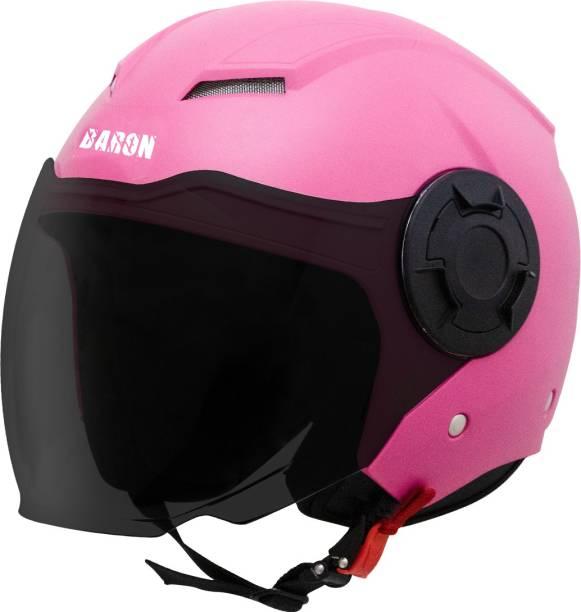 Steelbird Baron Open Face Helmet, ISI Certified Helmet in Dashing Pink with Smoke Visor Motorbike Helmet