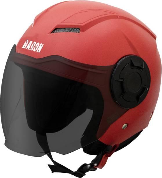 Steelbird Baron Open Face Helmet, ISI Certified Helmet in Dashing Red with Smoke Visor Motorbike Helmet