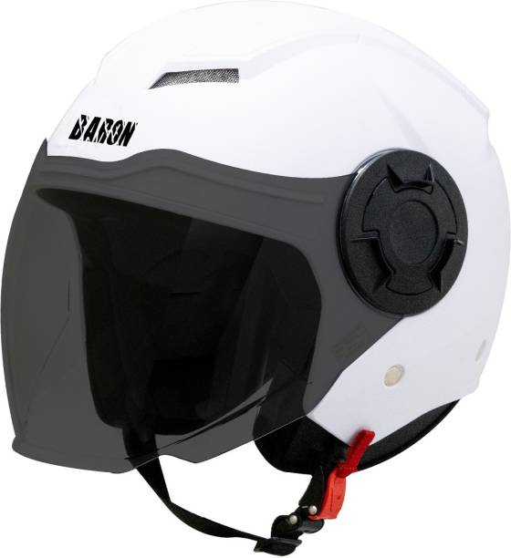 Steelbird Baron Open Face Helmet, ISI Certified Helmet in Dashing White with Smoke Visor Motorbike Helmet