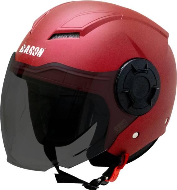 Steelbird Open Face Helmet, ISI Certified Helmet in Matt Maroon with Smoke Visor Motorbike Helmet