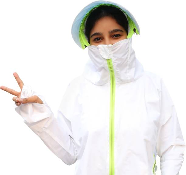 NOYMI Women Sun UV Protection Hat HD Polyester Quality and use as Raincoat with Removable Hooded Coat Body Shawl Cap (Free size) white Riding Protective Jacket