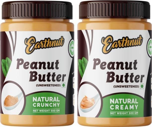 Earthnut Natural Peanut Butter Combo Creamy Crunchy (Unsweetened, Non-GMO, Gluten Free, Vegan)(500g + 500g) 1 kg