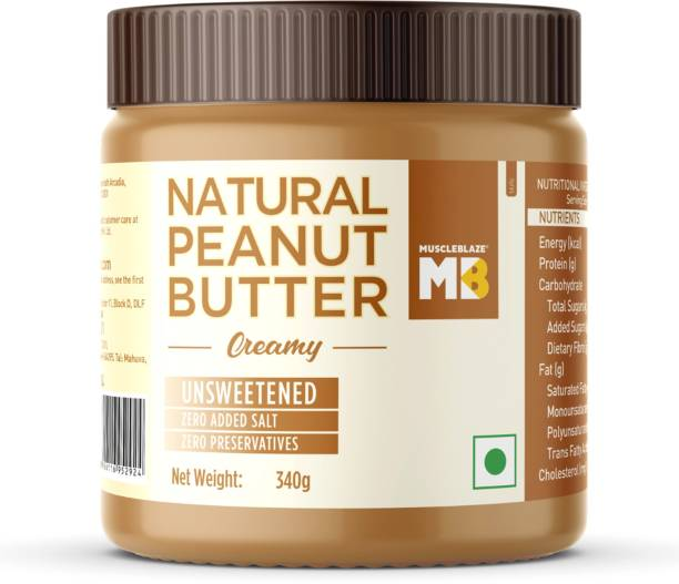 MuscleBlaze Natural Peanut Butter Unsweetened, Creamy 340 g