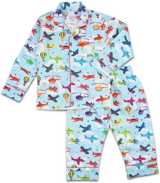 KOOCHI POOCHI Kids Nightwear Baby Boys & Baby Girls Printed Pure Cotton