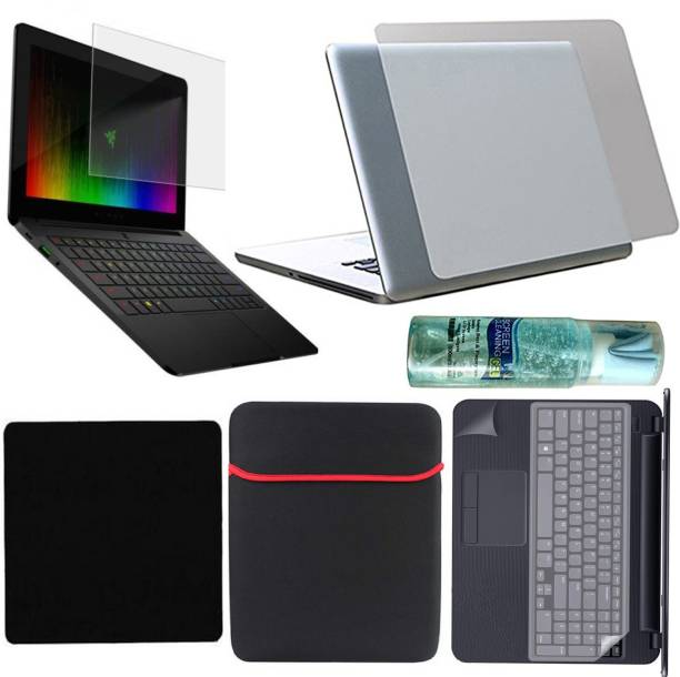 D.V TECH FULL SET OF LAPTOP PROTECTOR 7 IN 1 SET OF LAPTOP SCREEN GUARD 15.6 INCH, BACK LAPTOP LAMINATION 14-17 INCH, LAPTOP KEYBOARD PROTECTOR, PALMREST 14-17 INCH AND 15.6 INCH LAPTOP BAG SLEEVE CLEANER MOUSE PAD PACK Combo Set