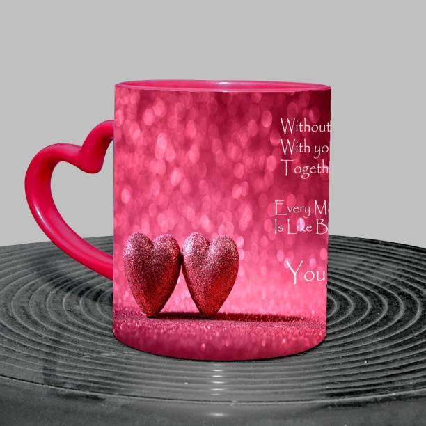 Murli Txtiles MTM You Are My Life Duel Heart Symbol Red Heart handle Three tone mug(350ml) Ceramic Coffee Mug