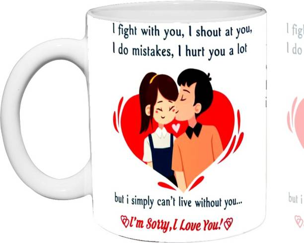Murli Txtiles MTM i'm Sorry, I Love you,' Coffee, Tea and Milk(350ml) Ceramic Coffee Mug