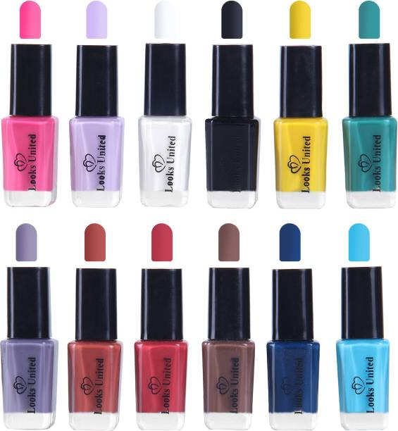 Looks United 12 Trendy Colors Long Lasting Nail Polish Multicolor