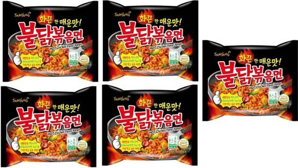 Samyang Stir Fried Hot Chicken Flavour Ramen Instant Korean Noodles - 140gm*5Pack (Pack of 5) (Imported) Hakka Noodles Non-vegetarian
