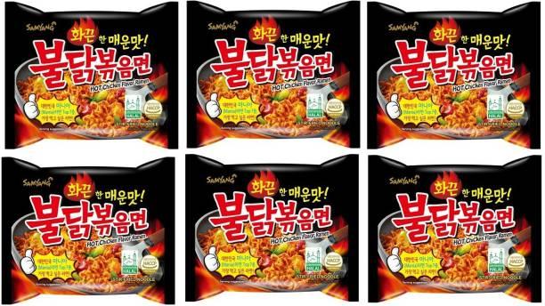 Samyang Stir Fried Hot Chicken Flavour Ramen Instant Korean Noodles - 140gm*5Pack (Pack of 6) (Imported) Hakka Noodles Non-vegetarian