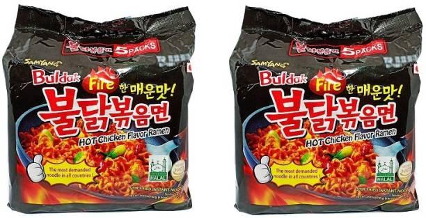 Samyang Stir Fried Hot Chicken Flavour Ramen Instant Korean Noodles - 140gm*10Pack (5Pack X 2Combo) Hakka Noodles Non-vegetarian