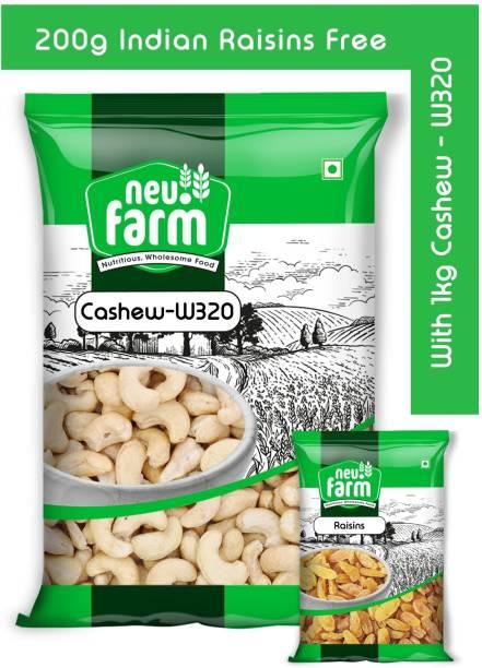 Neu.Farm Cashew/Kaju - W320 1kg - Premium Quality - 200g Indian Raisins Free Cashews, Raisins