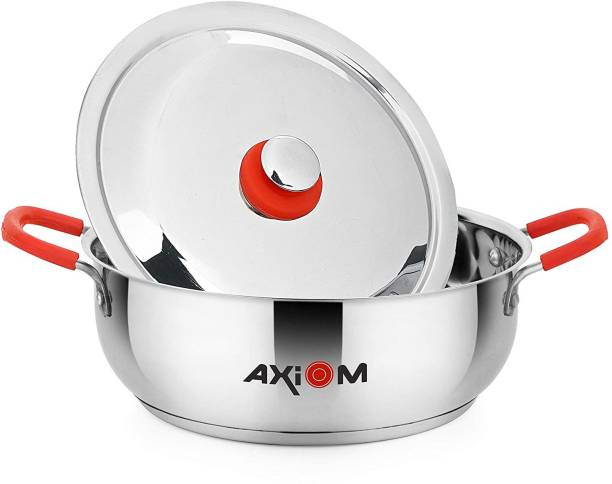 AXIOM KADAHI 3500 ML with Lid Stainless Steel Induction & Gas Compatible (TRIPLY Base Heavy Gauge Kadahi / Karahi with Silicon Stay Cool Handles 3.5 Litre / 25.5 cm) Kadhai 25.5 cm with Lid