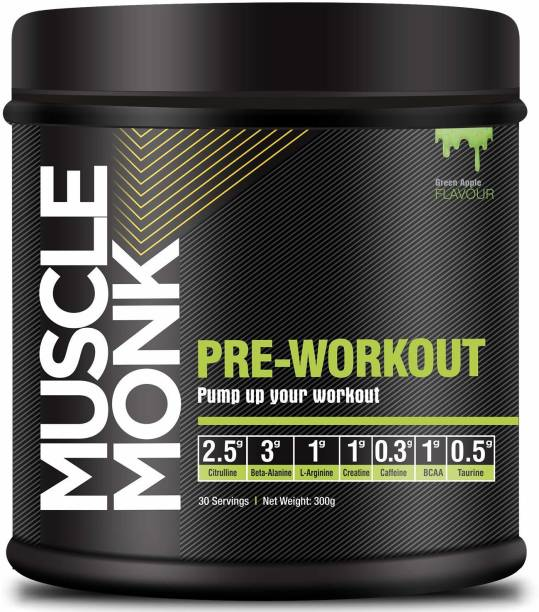 MuscleMonk Pre-Workout Creatine Beta-Alanine and L-Arginine for Energy Flavour: Green Apple Whey Protein