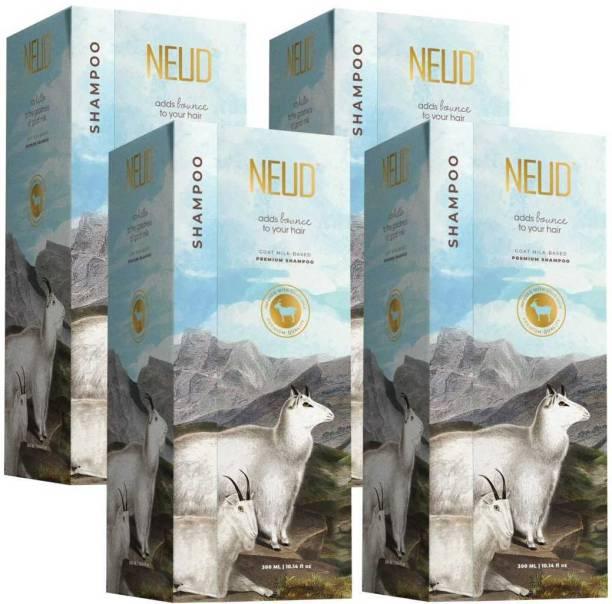 NEUD Goat Milk Premium Shampoo for Men & Women - 4 Packs (300ml Each)
