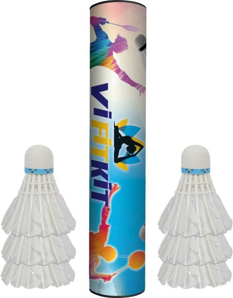 VIFITKIT Hand-Crafted Feather Shuttlecocks High Speed Badminton Balls Shuttle - White Feather Shuttle  - White