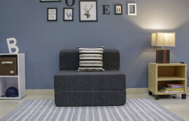 uberlyfe Sofa Cum Bed - Perfect for Guests- Jute Fabric Washable Cover with 1 Cushions(Striped Black Pattern)- Dark Grey | 2.5' X 6' Feet Single Sofa Bed