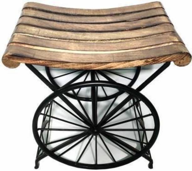 ANB Enterprises Wooden & wrought & Iron stool wheel shape sitting stool kids stool Living & Bedroom Stool (Brown, Black) Living & Bedroom Stool