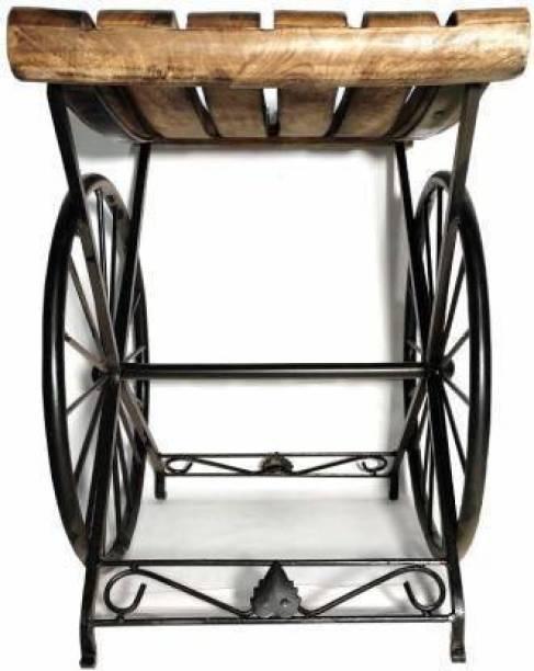 ANB Enterprises Wooden & wrought & Iron stool wheel shape sitting stool kids stool For : - Living & Bedroom Stool (Brown, Black) Living & Bedroom Stool