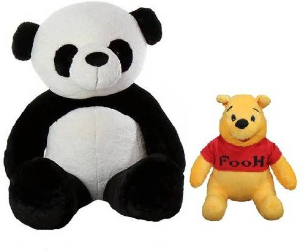 ToyKing Presenting Combo Offer 3 Feet ( 80 CM) Panda Teddy Bear With Small 26 cm Yellow Pooh  - 80 cm