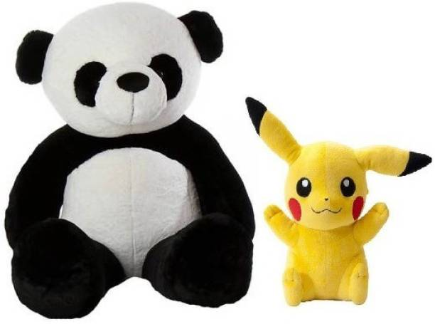 ToyKing Presenting Combo Offer 3 Feet ( 80 CM) Panda Teddy Bear With Small 26 cm Yellow Pikachu  - 80 cm