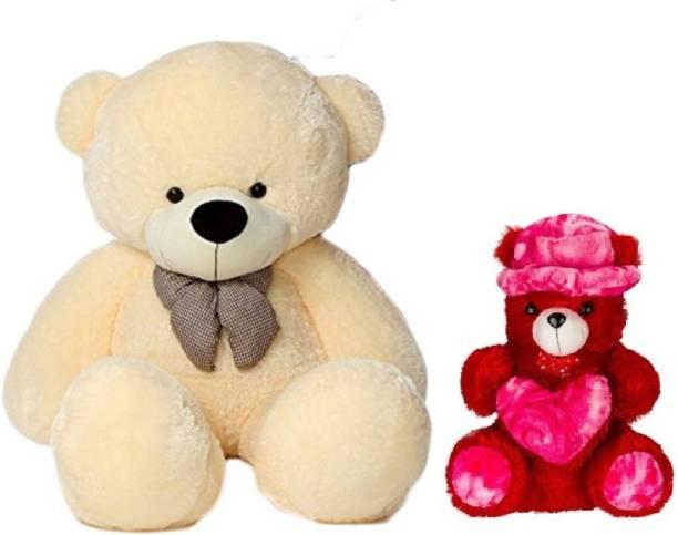 ToyKing Presenting Combo Offer 3 Feet ( 80 CM) Cream Teddy Bear With Small 28 cm Red Cap Teddy Bear  - 80 cm
