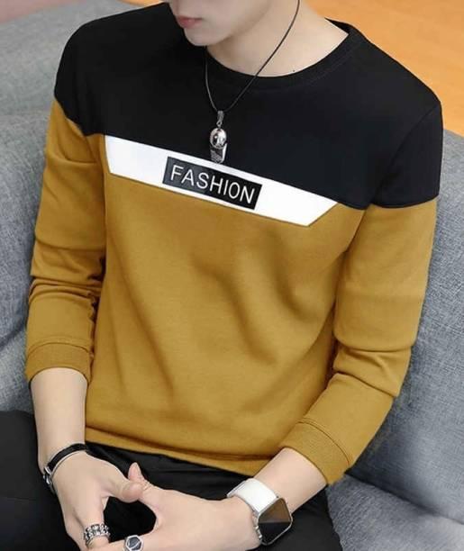 Eyebogler Color Block Men Round Neck Yellow T-Shirt