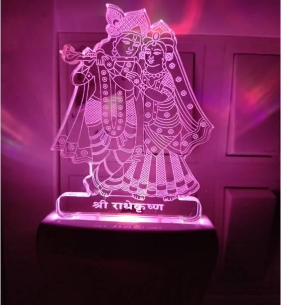 KRITAM LED Acrylic God Radha and Krishna / Radha Krishna Changing LED Night Table Lamp Night Lamp Night Lamp