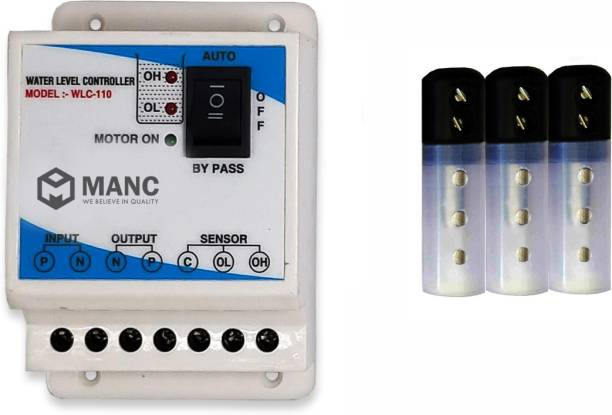 MANC - WE BELIEVE IN QUALITY Automatic Water Level Controller and 3 sensors Overhead Tank Only for 2 HP motor Water Leak Detector