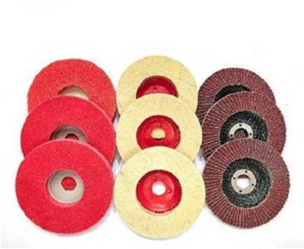 Tulsway Non Woven/Felt/ Flap Disc For Sanding Buffing Grinding Combo For SS/Metal /Glass/Wood Etc Angle Grinder