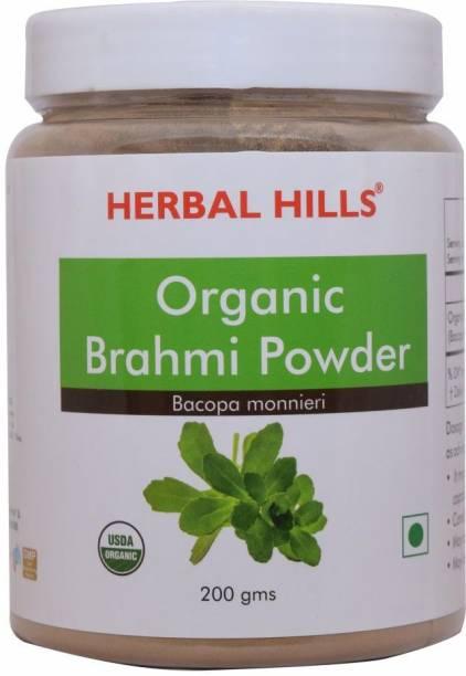 Herbal Hills Organic Brahmi Powder - 200gms - For Brain and memory (Pack of 5)