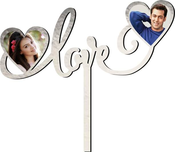 Creatick Studio Love Photo Cake Topper to celebrate a Special Day With Loved Ones | Valentines Day Special- Couple's Photo can be Sticked_CTS167 Cake Topper